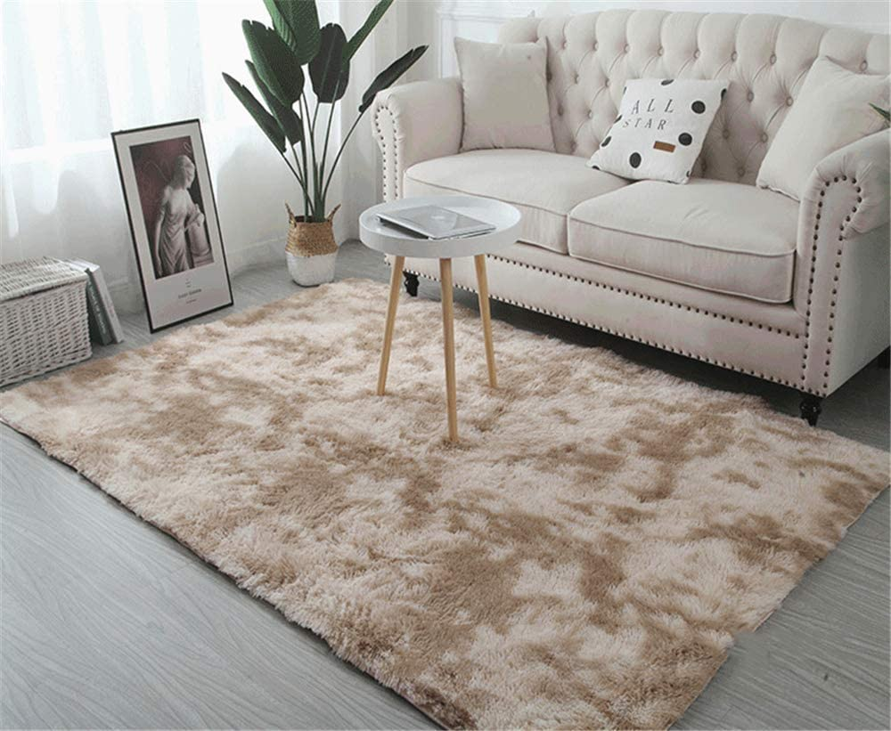 TROYSINC Alfombra de Pelo Largo mullida Camel Moderna Lavable 50 * 80cm para sal/ón o Dormitorio