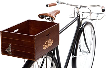 State Bicycle Cesta de Madera para Bicicleta Trasera: Amazon.es ...