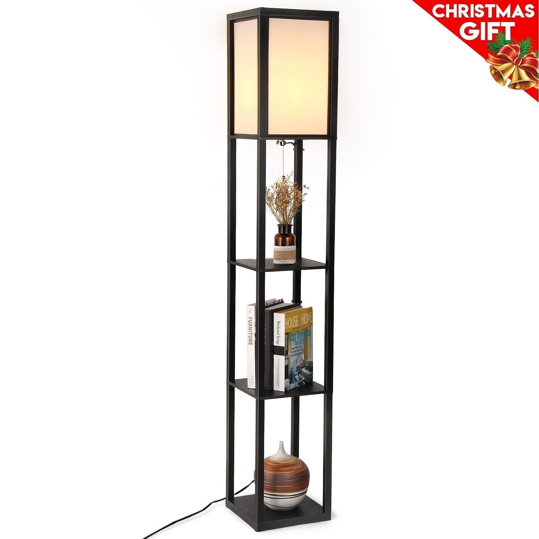 Floor Lamp with Shelves - Albrillo Modern Shelf Floor Lamp for Living Room Bedroom Office, Standing Lamp with Wooden Frame, White Shade