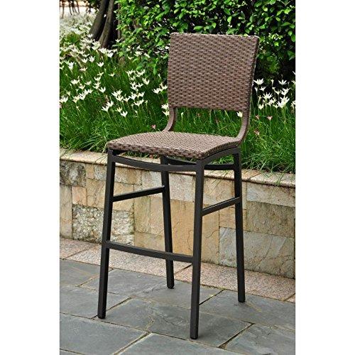 International Caravan Inc 4215-2CH-ABN Barcelona Set of Two Resin Wicker-Aluminum Bar Bistro Chair - Light Brown