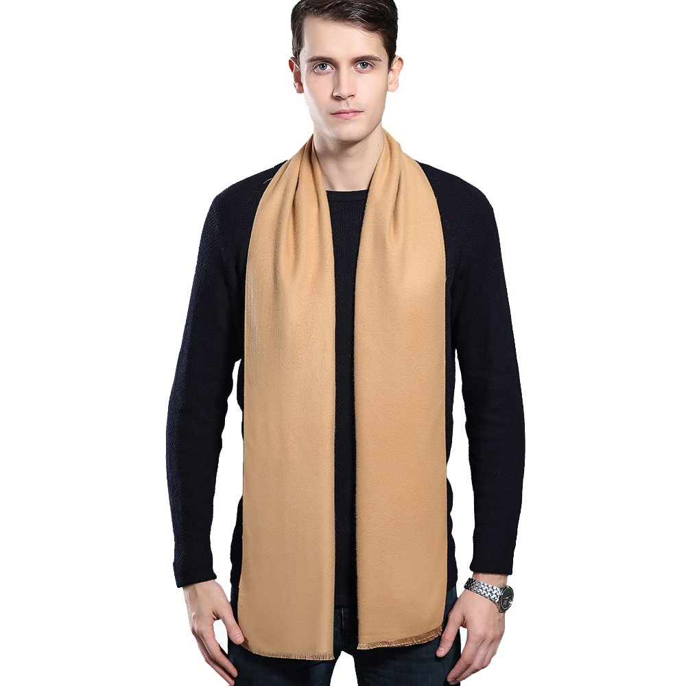 Mens Winter Cashmere Scarf - Ohayomi Fashion Formal Soft Scarves for Men(Camel)