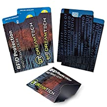 DreamTECH RFID Blocking Sleeves with Unique Design 5 pcs. Premium Credit / Debit card Anti-Theft, NFC Protection Security