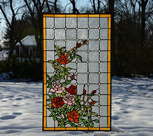 Tiffany Style Stained Glass Window Panel Rose Flowers , 20'' X 34'' by Stain Glass Panel
