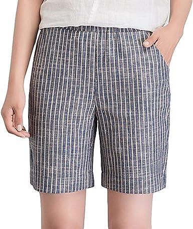 Pantalones Cortos Para Mujer Cortos Media Cintura De Pantalones Para Ropa Festiva Mujer Pantalones Cortos Sueltos Verticales De Moda Para Jovenes De Verano Pantalones Cortos De Raya Pantalones Amazon Es Ropa Y Accesorios