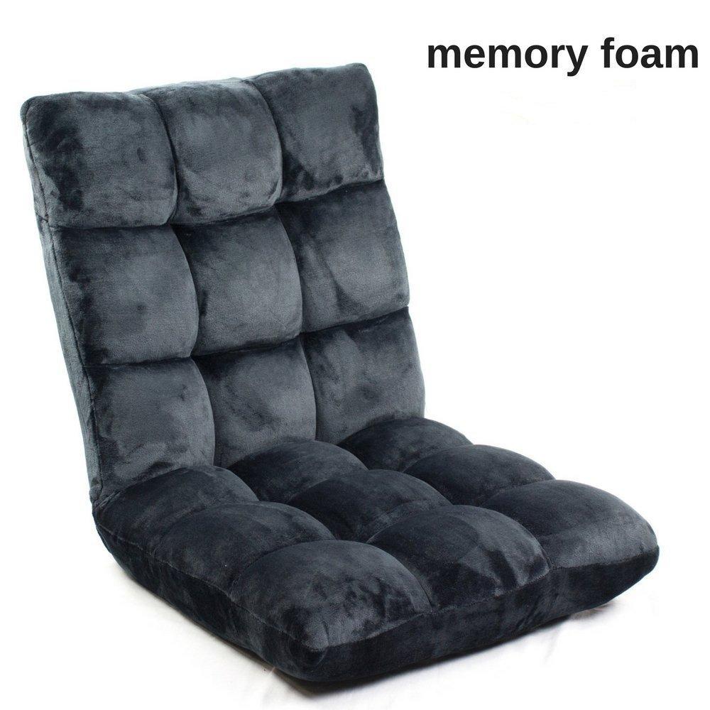 Memory Foam Sofa Chair Folds to Floor | Video Gaming Floor Folding Sofa + Lumbar Fully Adjustable to 14 Positions w/Ultra Soft Fabric | Memory Foam Lounger Cushion Legless Recliner (Black) Breathe Fresh Air bfaflrchr