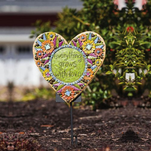 Everything Grows with Love Heart Shaped Wall Plaque - cute heart shaped wall decor