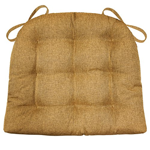 Barnett Products Dining Chair Pad with Ties – Hayden Copper Heathered Plain Weave – Size Standard – Reversible, Latex Foam Fill, Machine Washable (Light Brown, Caramel)