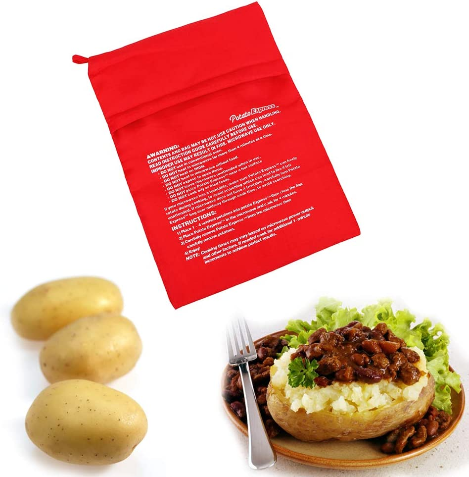 iTimo - Bolsa de cocina lavable, para microondas, hornear, patatas y arroz, fácil de cocinar, bolsillo de vapor