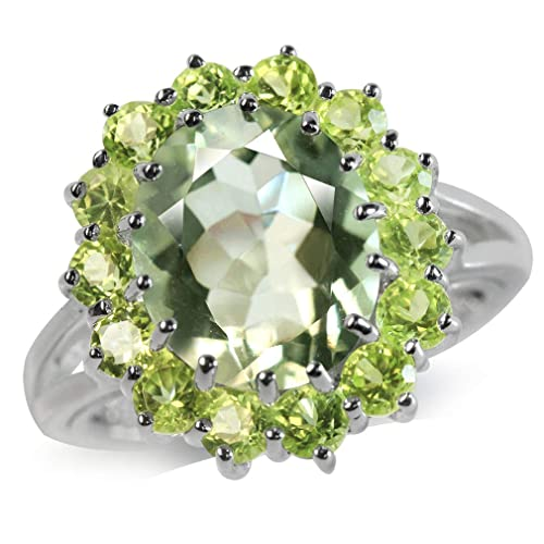Silvershake 4.13ct. 12X10mm Natural Oval Shape Green Amethyst and Peridot 925 Sterling Silver Cluster Cocktail Ring