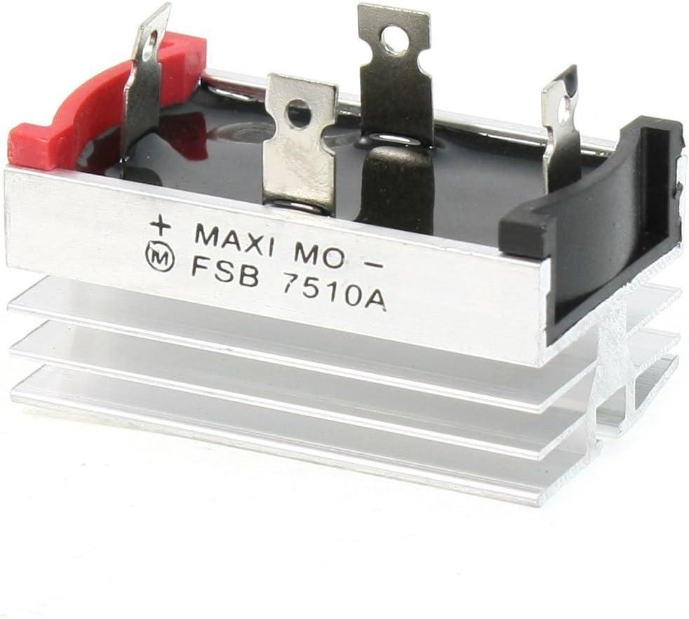 Rectificador puente - TOOGOO(R) Base de disipador de calor de aluminio Rectificador puente de fase unica Diodo 75A 1000V