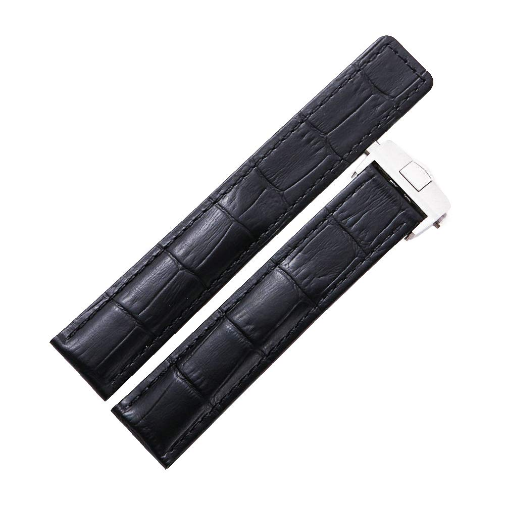 Dismay Leather Watch Band Strap Made for Tag Heuer Watches (22mm, Black) by DISMAY