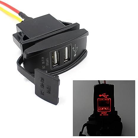 Cargador de Coche EUzeo DC 3.1A Red LED Mini Puerto USB dual Luces LED verdes ...