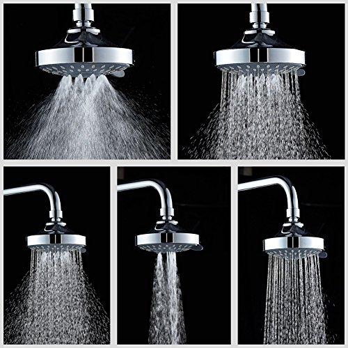 Winarrow 5réglages de spray Message précipitations Pomme de douche pour haute pression fixe 10,2cm rond Pommeau de douche Chromé