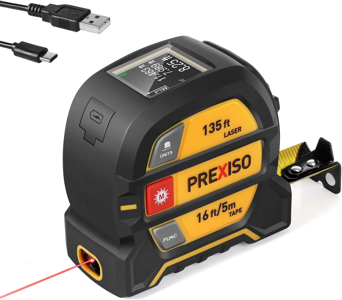 PREXISO Laser Tape Measure, 2-in-1 Laser Measure 135Ft & Tape Measure 16 Ft, Rechargeable Laser Distance Measure with Color Display, Multi-Measurement Modes, Nylon Coating Tape with Magnetic Hook