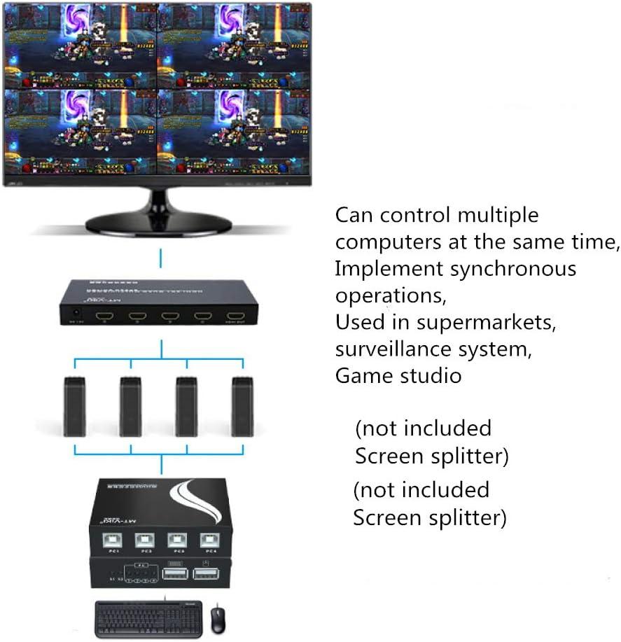 YUY Commutateur KVM Adaptateur KVM USB 4 Ports pour 1 Jeu De Commandes Clavier Et Souris pour Une Utilisation Simultanée De Plusieurs Ordinateurs avec Câble,4ports 16ports