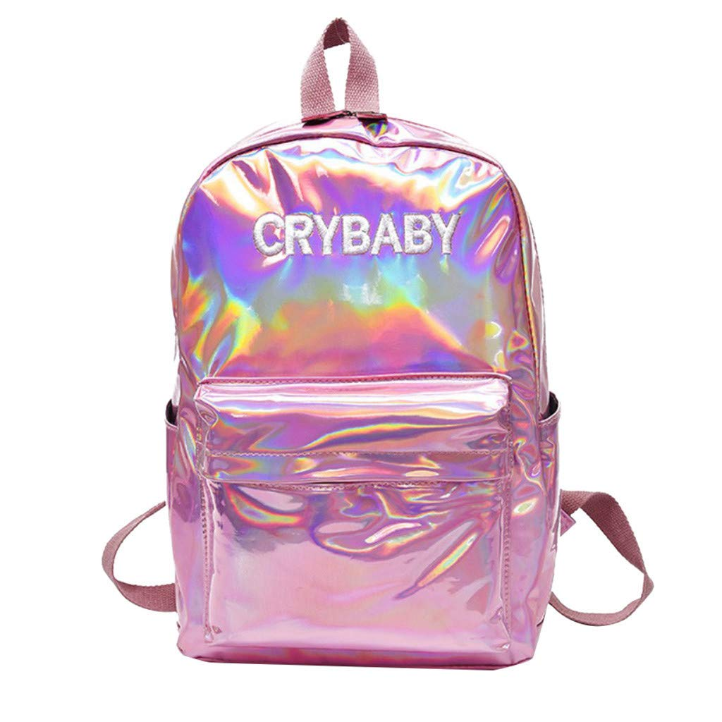 Backpack for Girl Holographic School Bookbag Large Capacity Shoulder Bag Casual Daypack Fashion Travel Satchel By Lmtime(Pink)