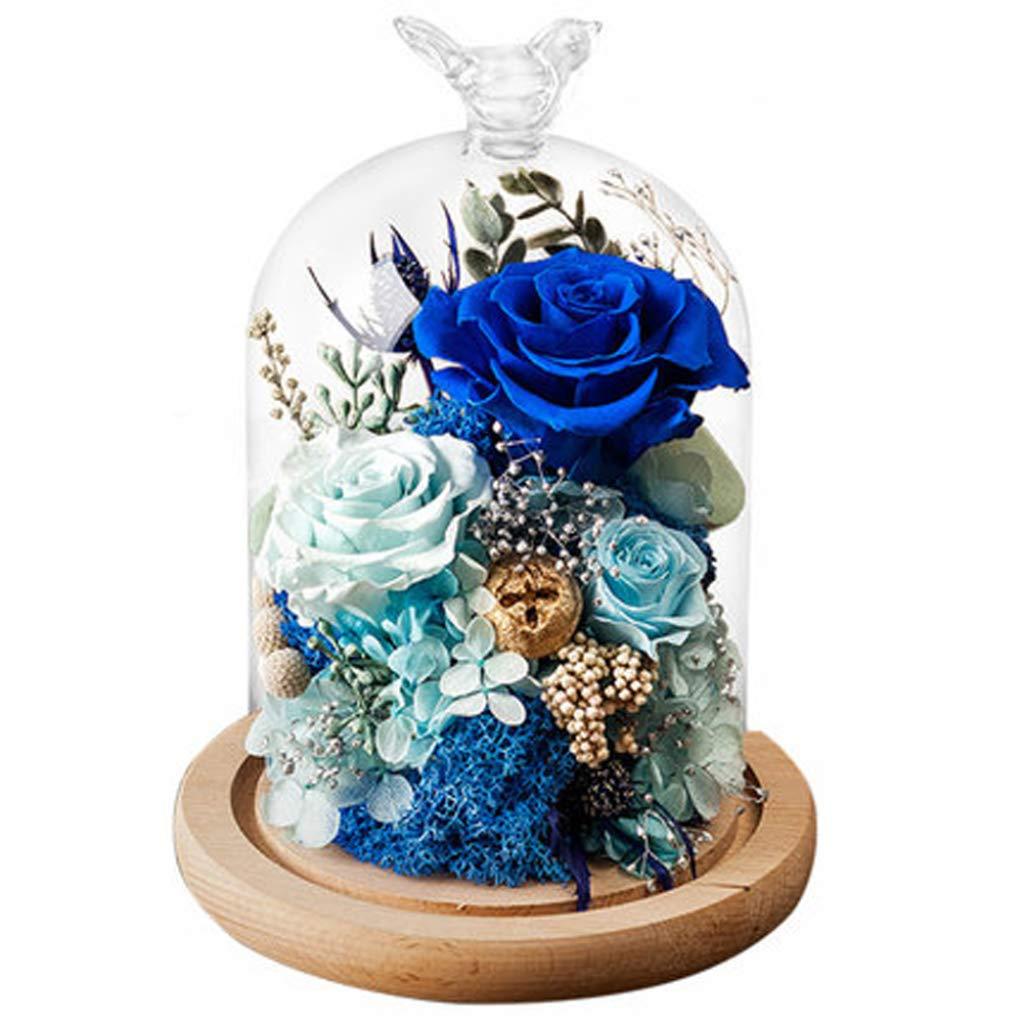 永遠の花ガラスギフトボックス 装飾ランプ ブルー 愛する人 バレンタイン ローズフラワー 誕生日ギフト ガールフレンド B07GPHG2Y9