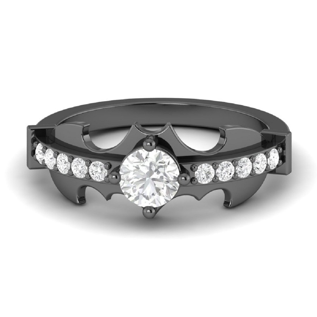 New 3.15ct White Diamond Round Cut Batman Engagement Wedding Ring in Full Black 925 Sterling Silver (5.5)
