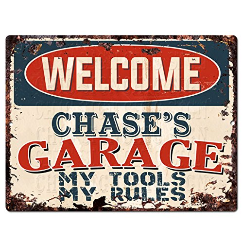 Welcome Chase'S Garage My Tools My Rules Tin Chic Sign Vintage Retro Rustic 9