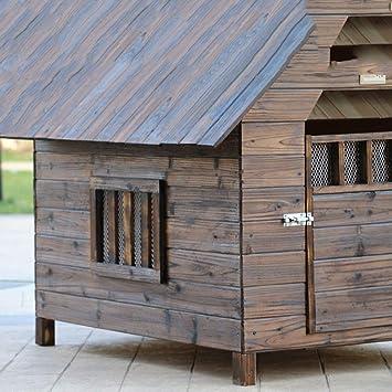 Lonshi Casa de Perro Perrera Jaula para Perros Jaula a Prueba de Agua a Prueba de Agua al Aire Libre de Madera Maciza de carbón de leña Perro casa de Perro ...