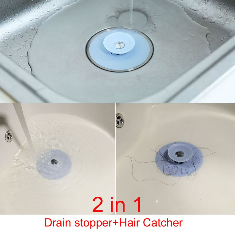 3 Pack Creative Shower Drain Stopper and Hair Catcher 2 in 1 ...
