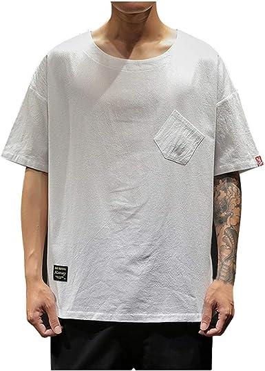 Camiseta De AlgodóN para Hombre Camiseta con Cuello Redondo Suelta Camisa Blanca De Manga Corta Gris Camiseta con Bolsillo Gris: Amazon.es: Ropa y accesorios