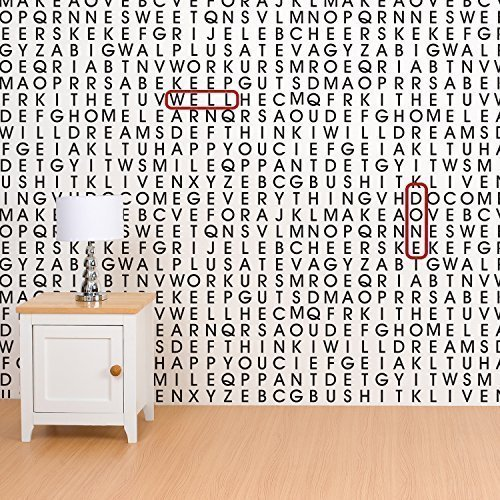 "Walplus 60x90 cm Wall Stickers ""Words on The Wall"" Removable Self-Adhesive Mural Art Decals Vinyl Home Decoration DIY Living Bedroom Décor Wallpaper Kids Room Gift, Black/White"