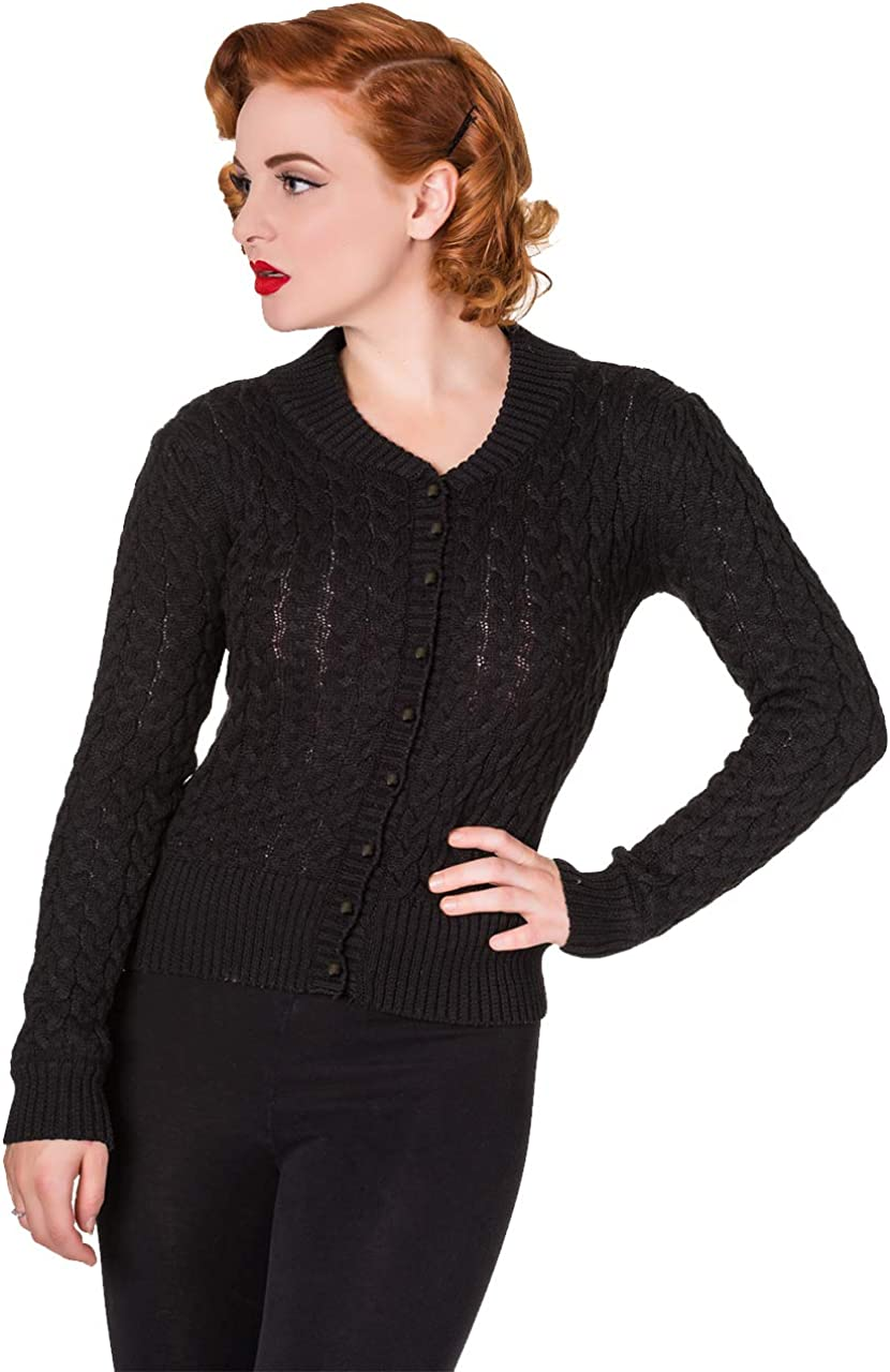 1930s Style Blouses, Shirts, Tops | Vintage Blouses Banned Apparel No Doubt Chunky Cable Knitted Vintage Cardigan £27.99 AT vintagedancer.com