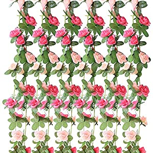 GerTong 1PCS Artificial Silk Rose Flower Ivy Vine Fake Hanging Plantss Leaves Garland for Wedding Party Garden Home Hotel Office Craft Art Decor Wall Valentine Decoration (Light Pink) 108