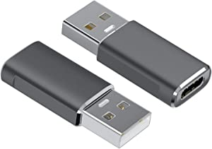 USB C Female to USB 3.0 Male Adapter(2-Pack), BrexLink Type C to USB A Adapter, Compatible with Laptops, Power Banks, Chargers, and More Devices with Standard USB A Ports (Grey)