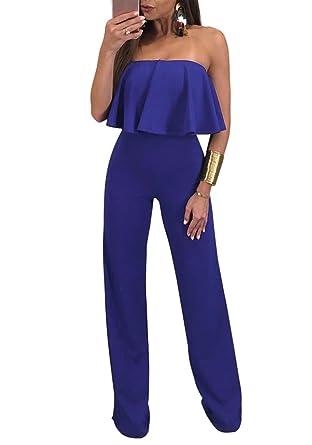 0d8da7a51915 Women s Off Shoulder Ruffle Solid Long Wide Leg Jumpsuits Rompers Pants  Blue S