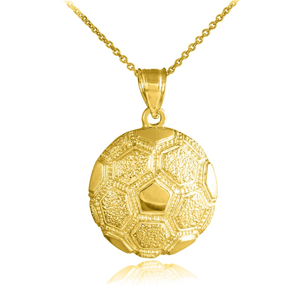 10k Yellow Gold Sports Charm Textured Soccer Ball Pendant Necklace