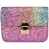 "CMK Trendy Kids Girls Holographic Chunky Glitter Shoulder Crossbody Bag Mini Purse for Toddler Gift Birthday Party Favors for Kids Tote Handbags (6.2""(L) x 2.8""(W) x 4.5""(H), (81005_Rainbow)"