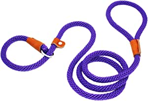 lynxking Dog Leash Slip Rope Lead Leash Strong Heavy Duty Braided Rope No Pull Training Lead Leashes for Medium Large Dogs (6', Purple)