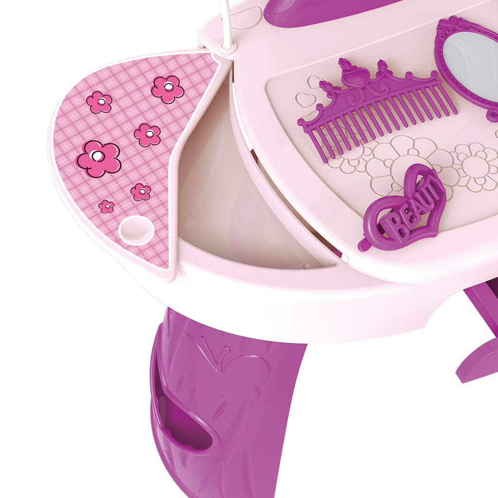 Vanity Beauty Dresser Table for Girls, 23 pcs Fashion & Makeup Accessories with Hand Mirror, Hair Dryer, Brush, Comb for Children 1-3 Years Old (Pink) by Bieay (Image #6)