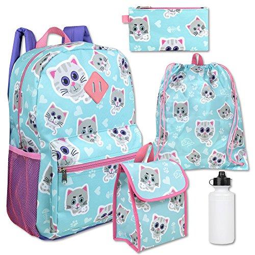 Girl's 5 in 1 Full Size Backpack Set (Light Blue)
