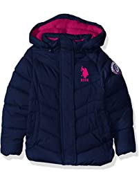 U.S. Polo Assn. Girls  Hooded Bubble Jacket with Piping Detail 6882ca714