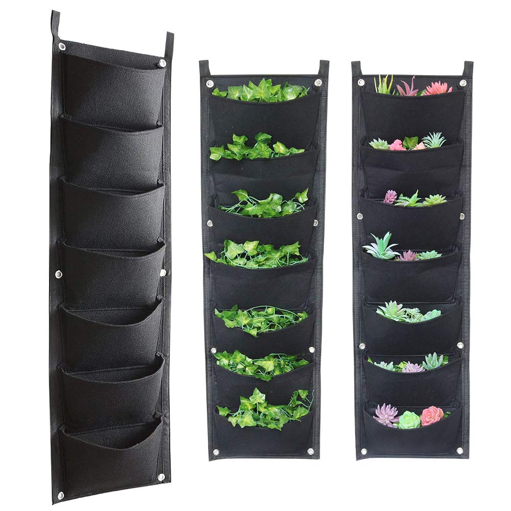 Vertical Garden Fence Wall Hanging Planter, 7 Pockets, Wall Hanging Mount Plant Grow Bag for Herbs Vegetables and Flowers - Indoor / Outdoor