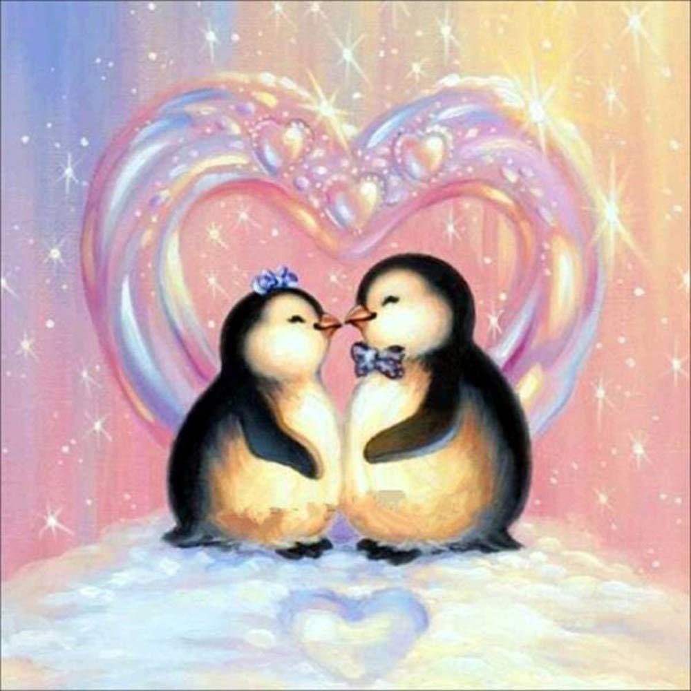 wobnag DIY 5d diamante pittura dopo numero Kits pieno trapano cartone animato pinguino su croce ricamo artigianale per bambini e adulti camera da letto soggiorno sfondo decorativo C Colorful