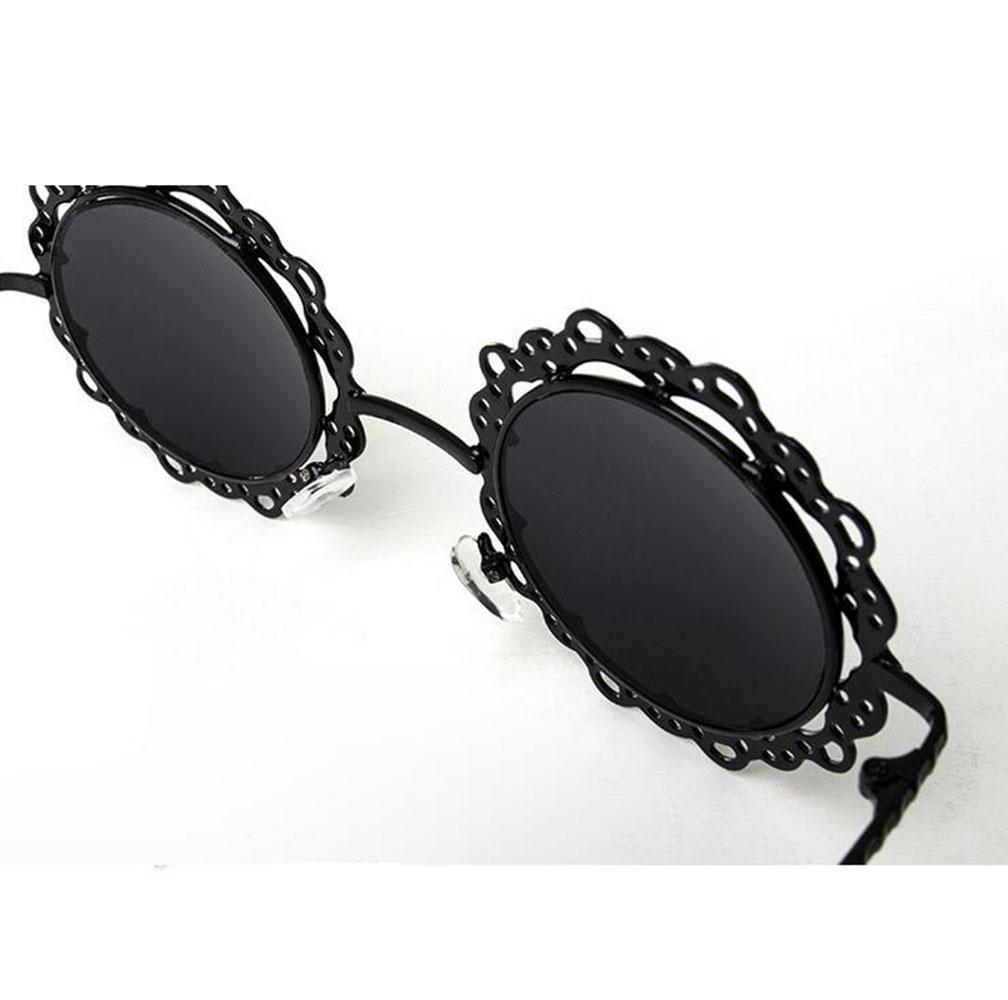 Z&YQ Lunettes de soleil en métal rond creux dentelle marée lunettes lunettes rétro ALbGuk5