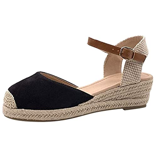 purchase cheap new style recognized brands Espadrilles CompenséEs Sandales Femme Pas Cher ÉTé Plateforme Daim Cuir  Haut 8 Cm Bout Fermé Fete Soiree Sexy Mode Noir 35-43