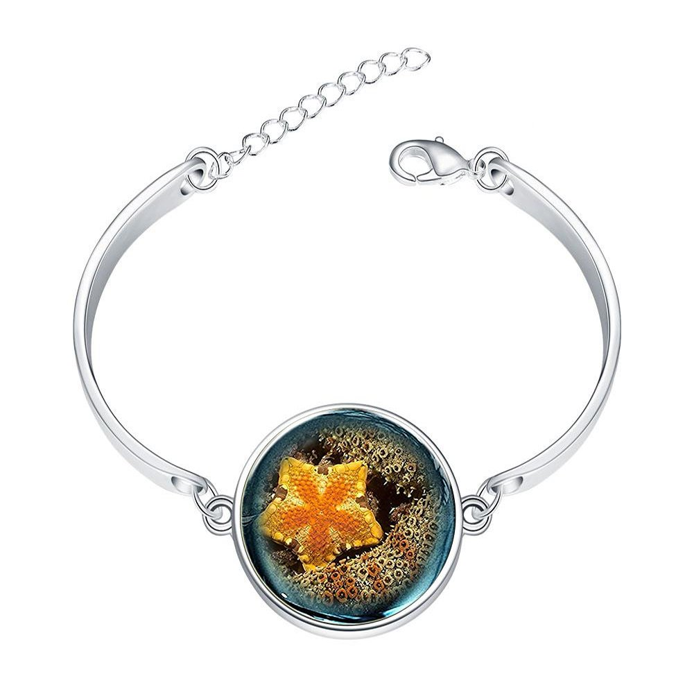 DOME-SPACE Adjustable Silver Bracelets Yellow Starfish Hand Chain Link Bracelet Clear Bangle Custom Glass Cabochon Charm