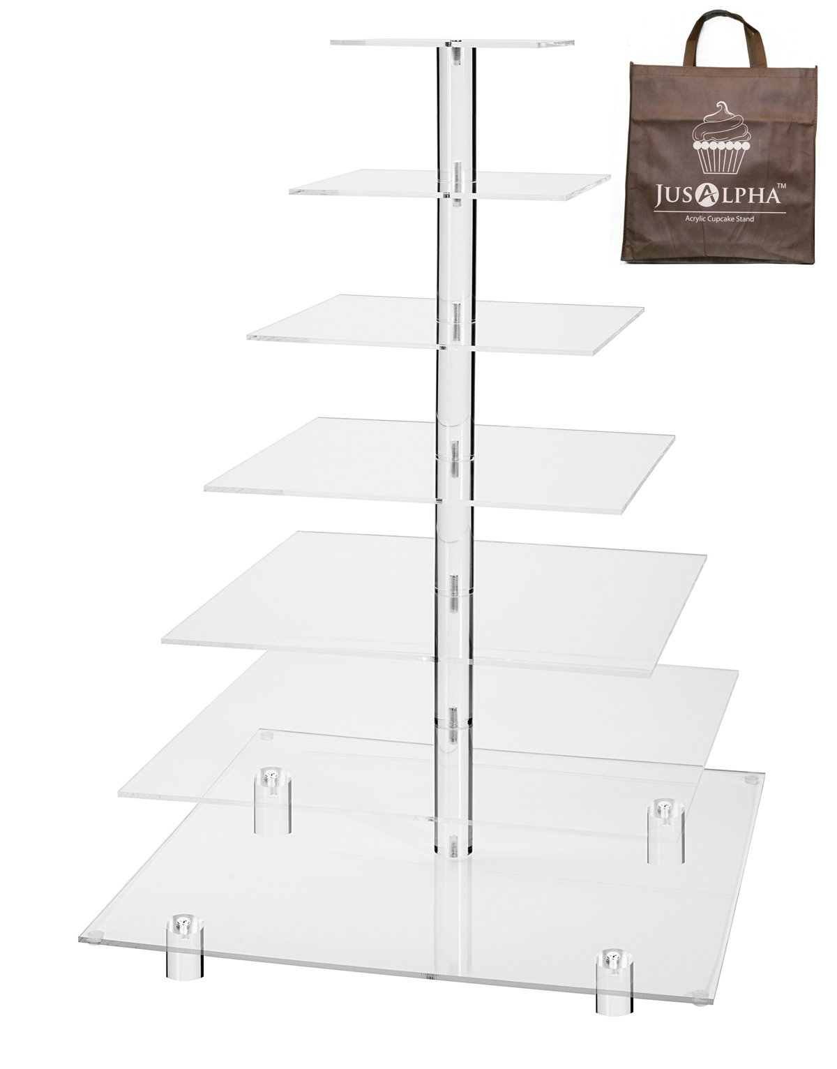 Large 7 Tier Wedding Party Acrylic Glass Cupcake Stand-Cake and Dessert Tower With Rod Feet (7SF) by Jusalpha