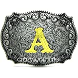 Initial Letters Western Style Cowboy Rodeo Gold/Silver Large Belt Buckle