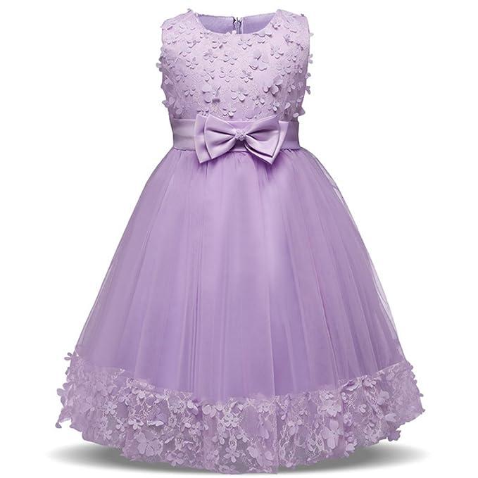 Fuyingda Vestido de Princesa para Bebe Niñas sin Mangas Fiesta Boda Bowknot Elegante Encajes Vestido,