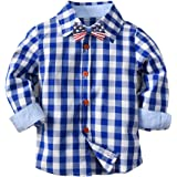FUNOC Baby Kids Toddler Boys Cotton Plaid Shirt...