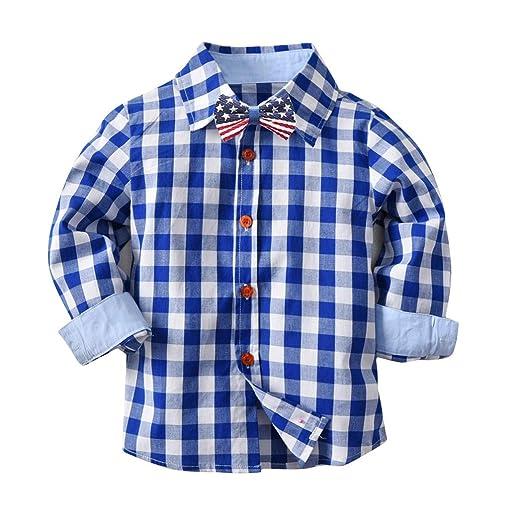 dcdb8d374 FUNOC Baby Boys Girls Flannel Shirt Long Sleeve Button Down Plaid Shirt  (1-7Y