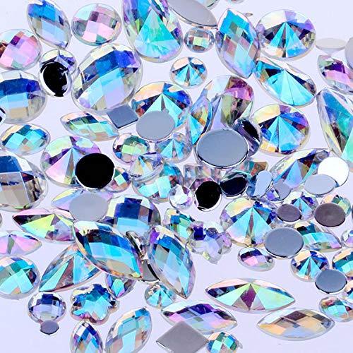 Mixed 300Pcs Crystal Clear AB Nail Art Rhinestones DIY Non Hotfix Flatback Acrylic Nail Stones Gems For 3D Nails Art Decorations Clear AB ()