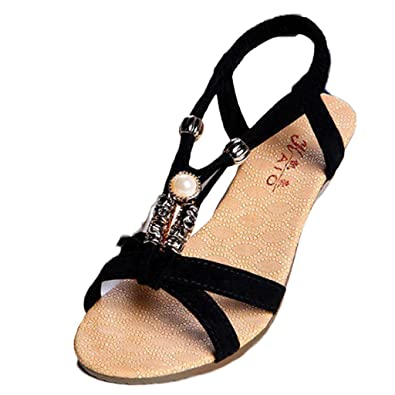 Ouneed® Sommer Mode Süße wulstige Wohnungen Cap Zeheebenen Bohemian Herringbone Hohe Hilfe Sandelholz Strand Damenschuhe Schuhe Flip Flops Erwachsene Zehentrenner (37===23.1-23.5cm/9.1-9.3