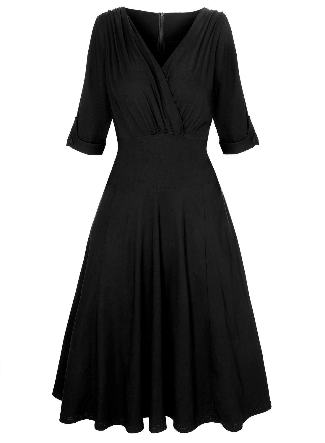 MERRYA Women's Plus Size 1950s V-Neck Sleeved Party Cocktail Swing Dress (20 Plus, Black)